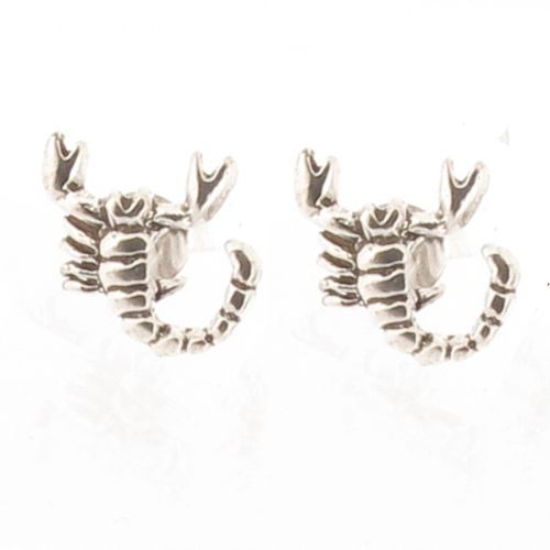 Sterling Silver Scorpion Design Stud Earrings