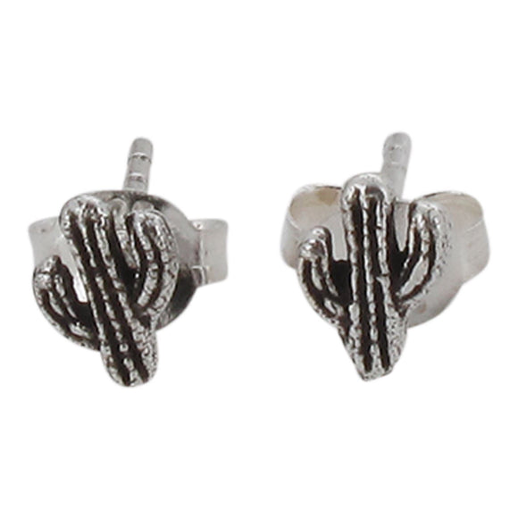 Sterling Silver Tiny Cactus Design Stud Earrings with Oxidized Detail