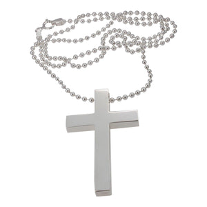Sterling Silver Solid Cross and Ball Chain