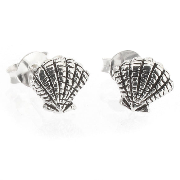 Sterling Silver Sea Shell Design Stud Earrings with Oxidized Detail