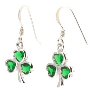 Sterling Silver Shamrock Drop Earrings with Green Crystal