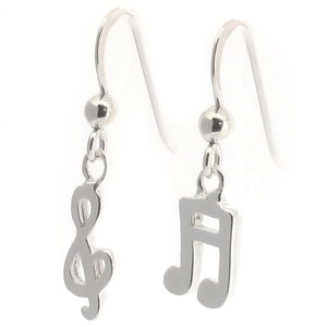 Sterling Silver Music Note and Treble Clef Drop Earrings