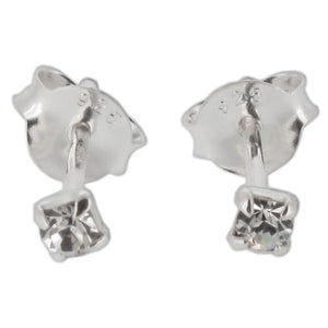 Sterling Silver Tiny Crystal Claw Stud Earrings - Clear