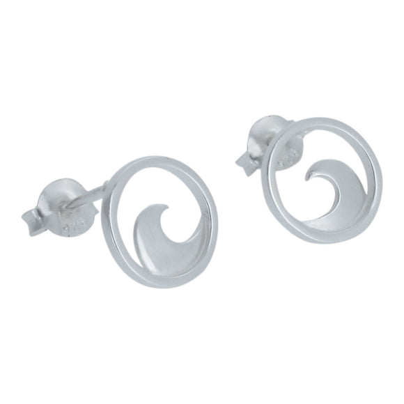 Sterling Silver Wave Design Stud Earrings