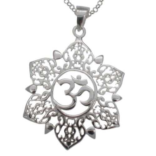 Sterling Silver Om In Mandala Pendant and Chain