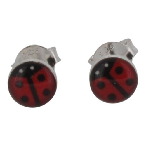 Sterling Silver and Resin Ladybird Stud Earrings