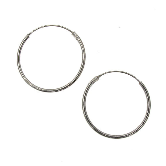 Sterling Silver Plain Hoop Earrings | 20mm