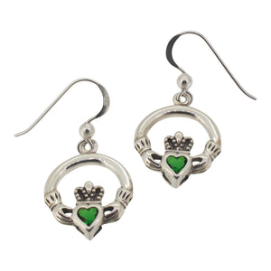Sterling silver Claddagh drop earrings with crystal