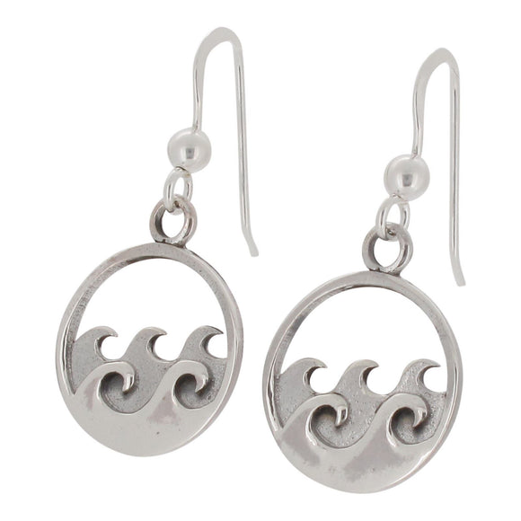 Sterling Silver Wave Design Drop Earring