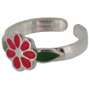 Sterling Silver Flower Toe Ring with Red Enamel