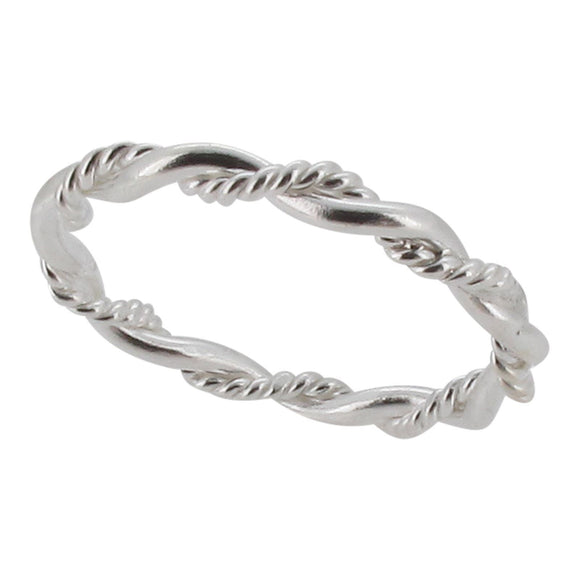 Sterling silver twisted wire band ring - Touch Jewellery