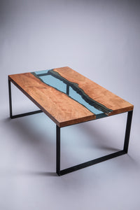 Cherry wood - Azuria Blue glass Coffee Table