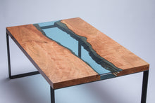 Load image into Gallery viewer, Cherry wood - Azuria Blue glass Coffee Table