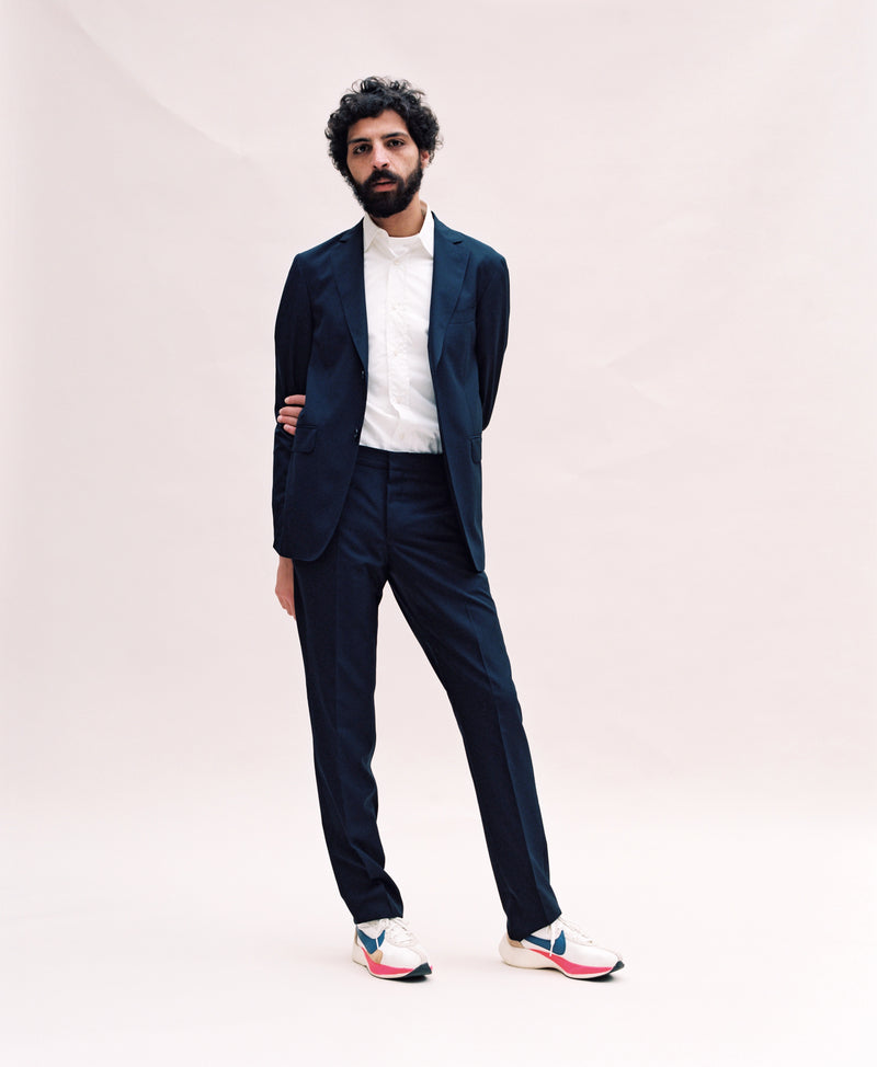 Navy Suit Trouser - Orange Grosgrain-Verlan
