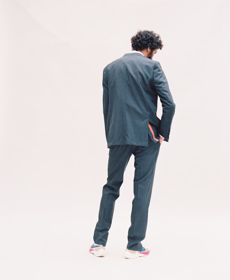 Grey Suit Trouser - Orange Grosgrain-Verlan