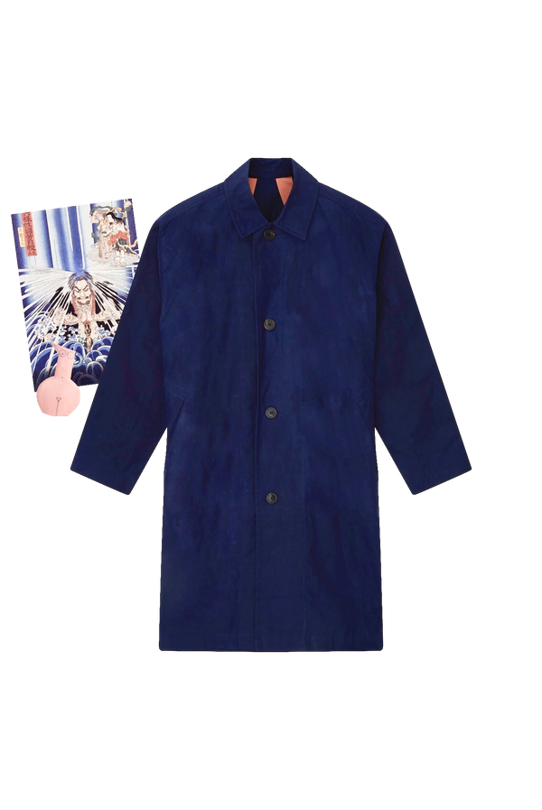 NAVY RAINCOAT - LIGHT BLUE GROSGRAIN