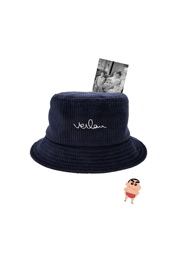 NAVY CORDUROY BUCKET HAT