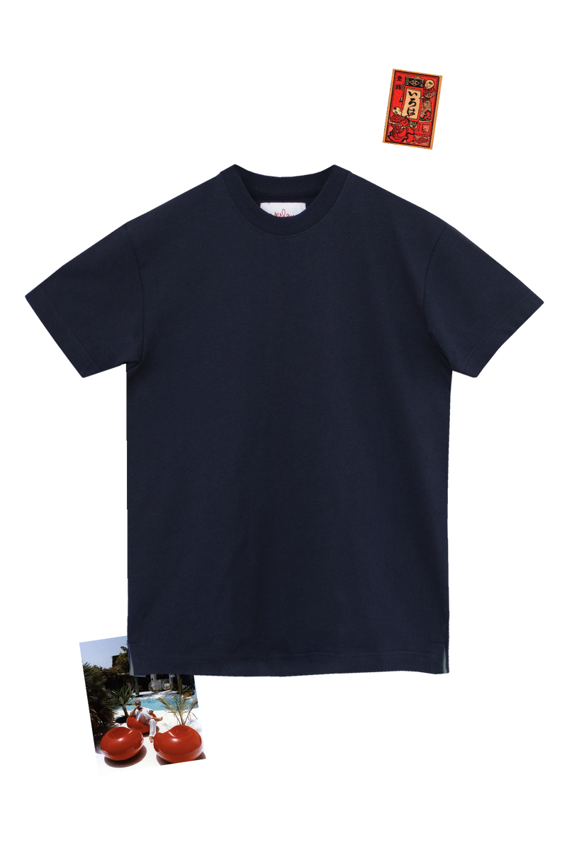 NAVY T-SHIRT - ENGLISH GREEN GROSGRAIN