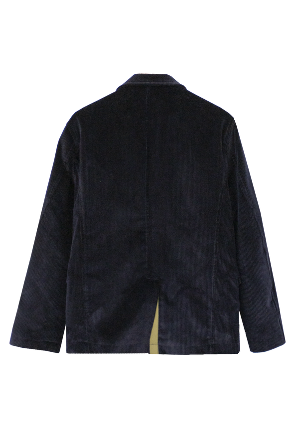 NAVY CORDUROY JACKET WITH KHAKI GROSGRAIN