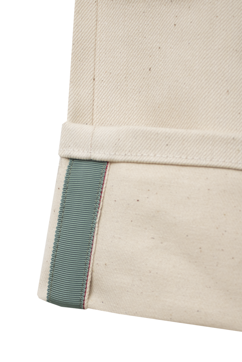 ECRU DENIM - ENGLISH GREEN GROSGRAIN