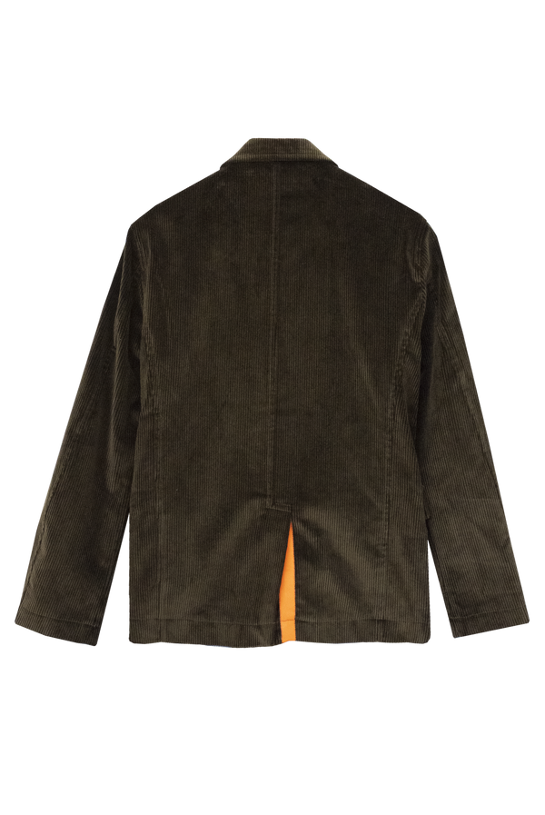 KHAKI CORDUROY JACKET WITH ORANGE GROSGRAIN