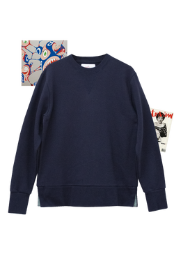 NAVY SWEATSHIRT - ENGLISH GREEN GROSGRAIN