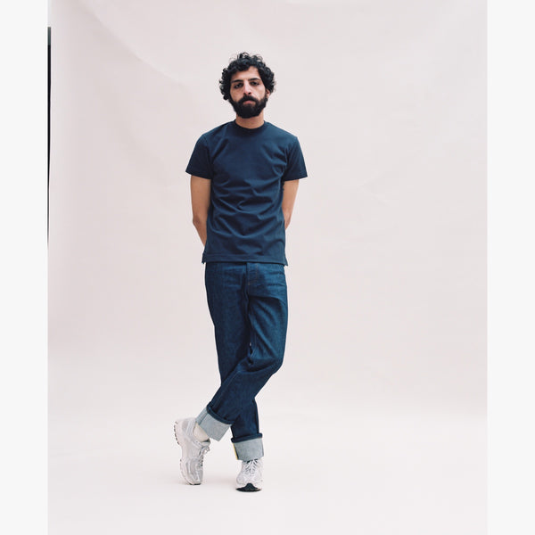 NAVY T-SHIRT - LIGHT BLUE GROSGRAIN-Verlan
