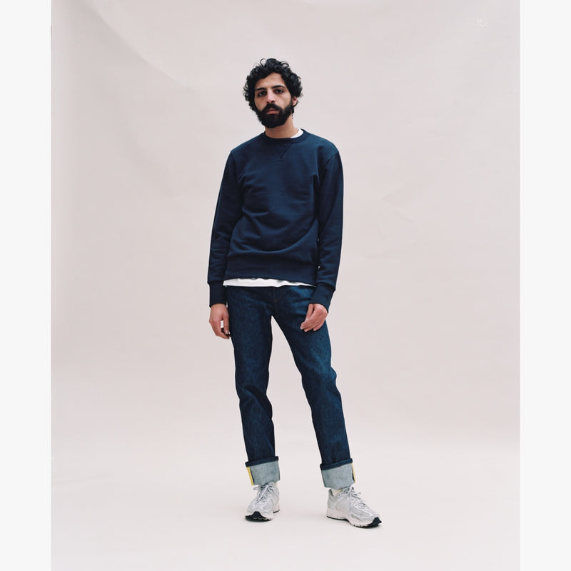 NAVY SWEATSHIRT - LIGHT BLUE GROSGRAIN-Verlan