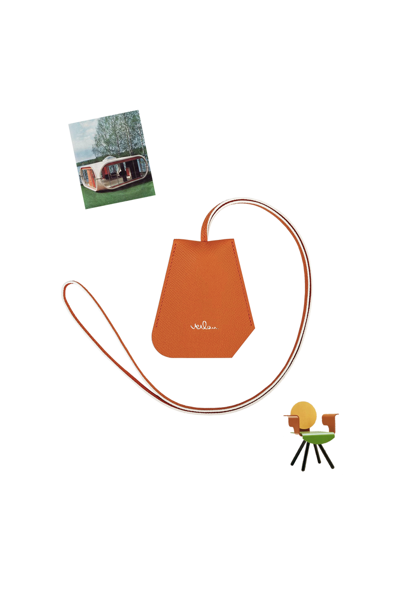 ORANGE LEATHER BELL KEY-HOLDER