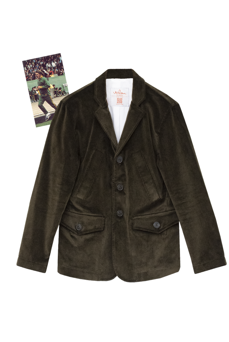 KHAKI CORDUROY JACKET WITH NAVY GROSGRAIN