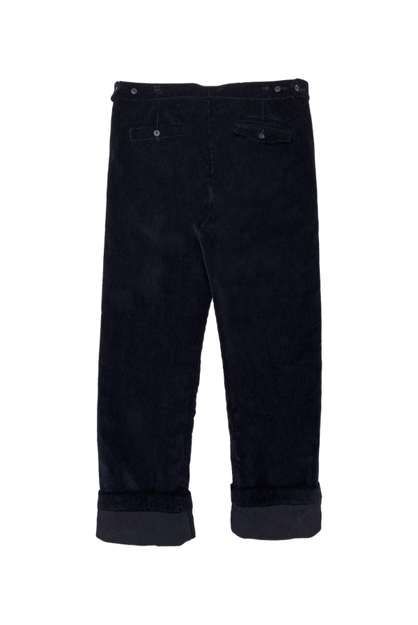 NAVY CORDUROY TROUSER WITH NAVY GROSGRAIN