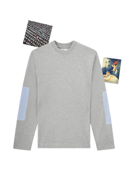 GREY LONG SLEEVE T-SHIRT WITH SHIRT PATCH
