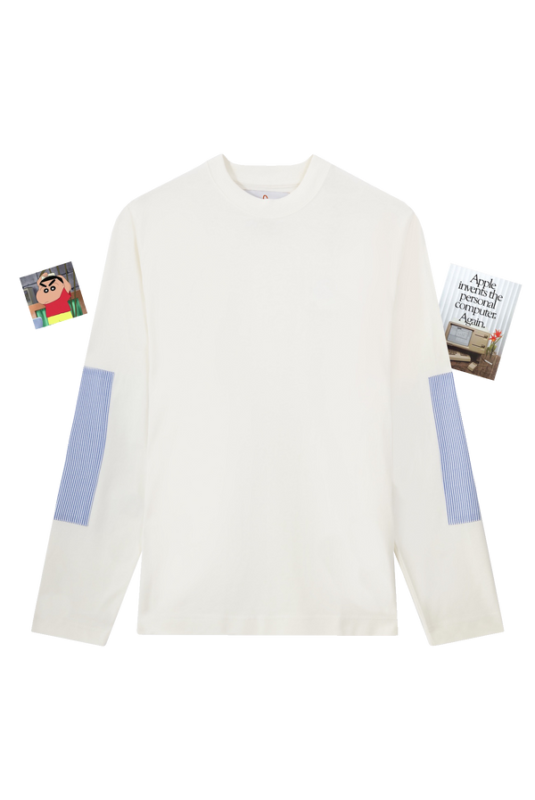 ECRU LONG SLEEVE T-SHIRT WITH SHIRT PATCH