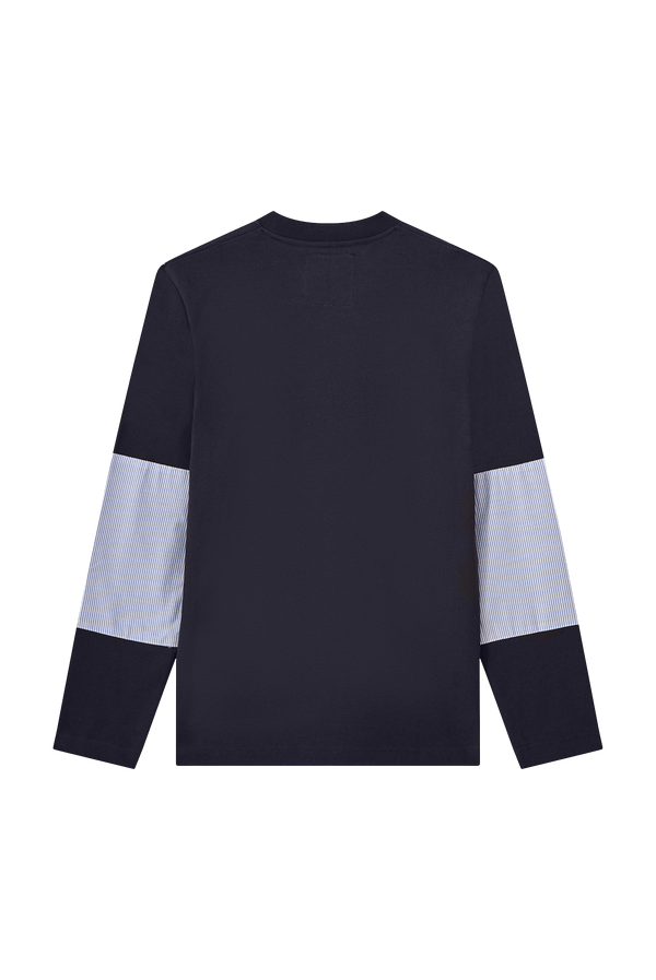 NAVY LONG SLEEVE T-SHIRT WITH PATCH