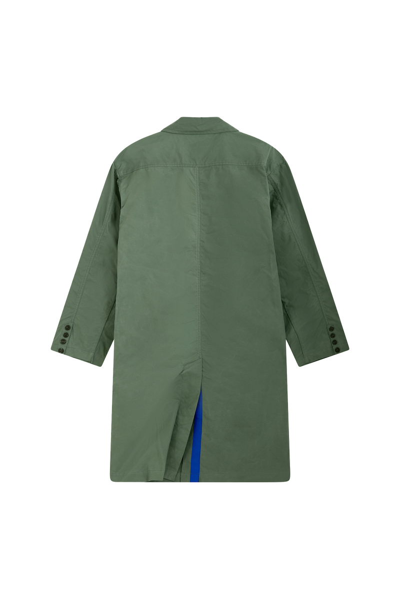 PRE ORDER - GREEN RAINCOAT - ROYAL BLUE GROSGRAIN