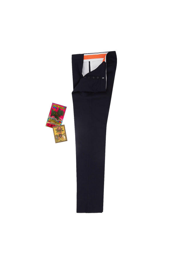 Navy Suit Trouser - Orange Grosgrain