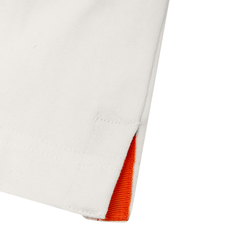 ECRU T-SHIRT - ORANGE GROSGRAIN