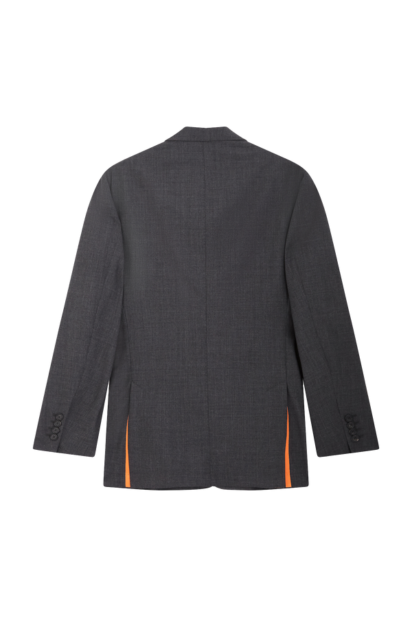 Grey Suit Jacket - Orange Grosgrain