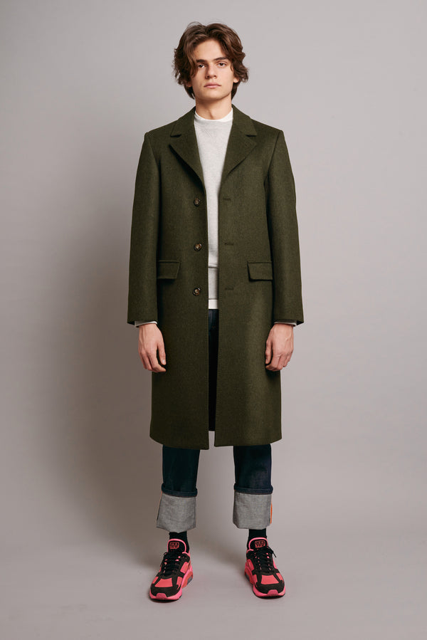 Loden Coat with Navy Grosgrain - Green