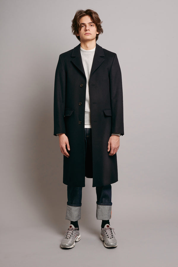 Loden Coat with Navy Grosgrain - Navy