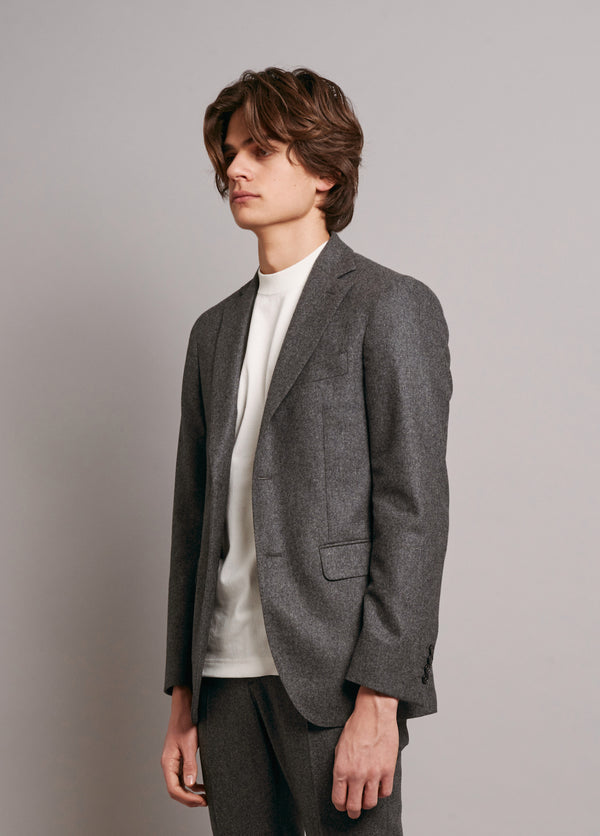 Two-Button Jacket with Grey Grosgrain - Grey