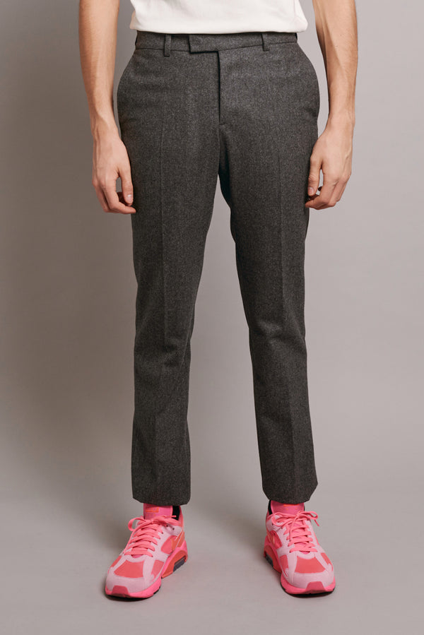 UNFINISHED SUIT TROUSER WITH GREY GROSGRAIN - GREY