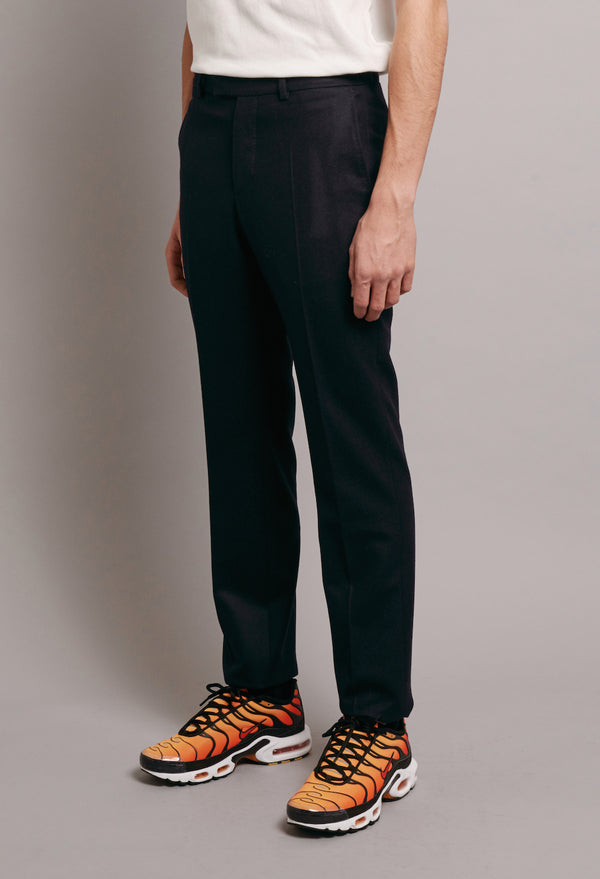 UNFINISHED SUIT TROUSER WITH ORANGE GROSGRAIN - NAVY