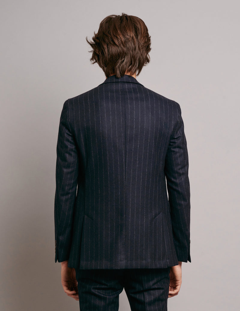 FW19 Two-Button Jacket with Navy Grosgrain - Navy Pinstripe-Verlan