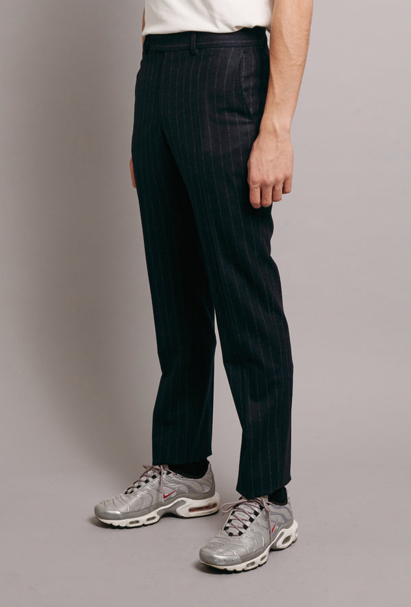 UNFINISHED SUIT TROUSER WITH NAVY GROSGRAIN - NAVY PINSTRIPE