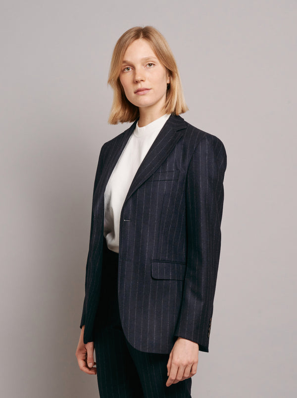 Two-Button Jacket with Navy Grosgrain - Navy Pinstripe