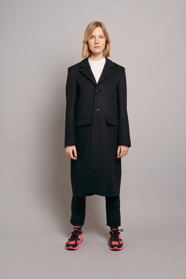 Loden Coat with Orange Grosgrain - Navy