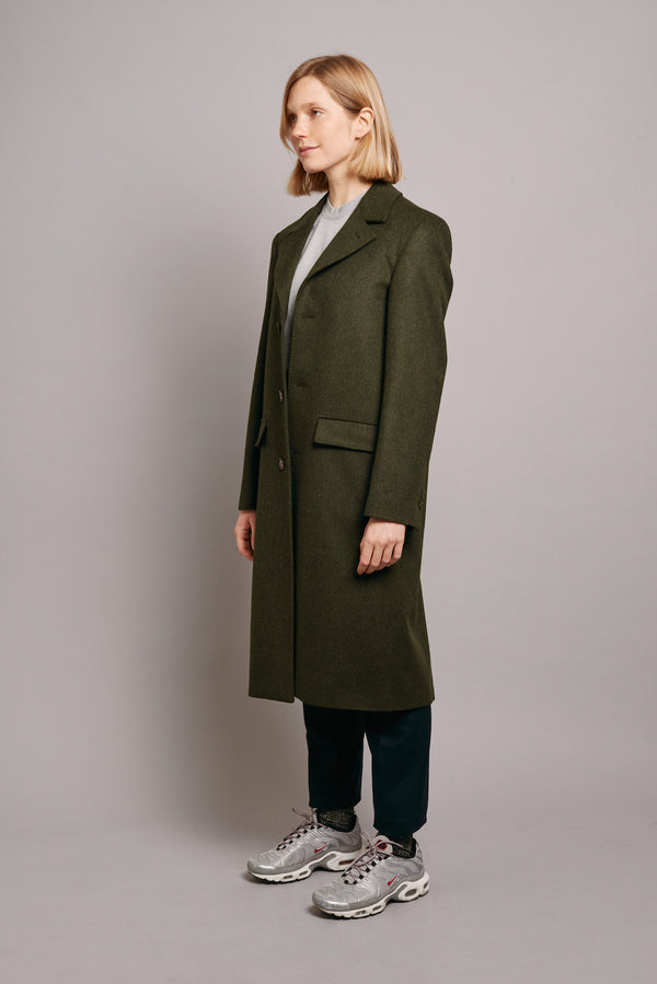 Loden Coat with Green Grosgrain - Green