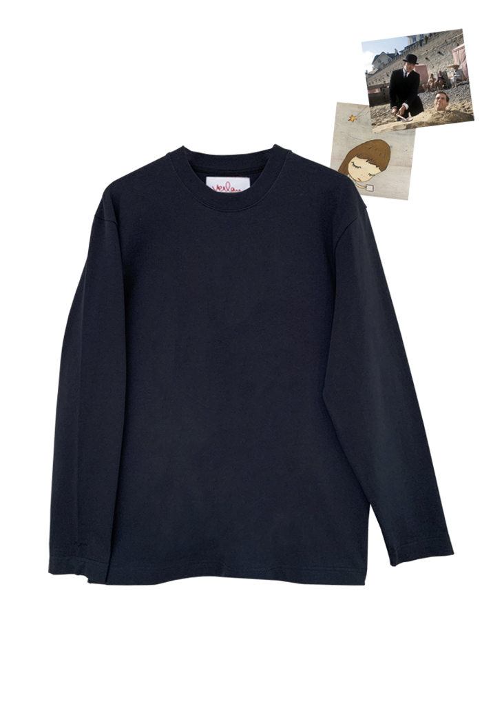 NAVY LONG SLEEVE T-SHIRT - SLEEVE BRANDING
