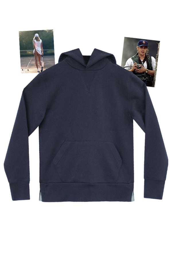 NAVY HOODIE - ENGLISH GREEN GROSGRAIN